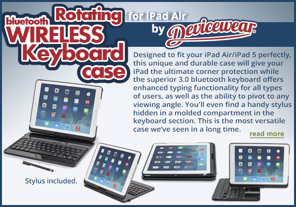 Rotating Keyboard Case with Stylus for iPad Air - by Devicewear